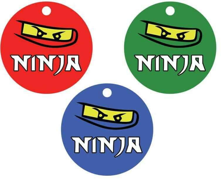 Zawieszki na butelki z wstążeczką Ninja - 12 szt.