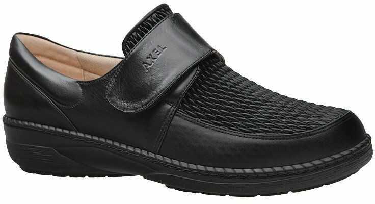 Półbuty AXEL Comfort 1206 Czarne Elastico na rzepy Haluksy Tęgość H