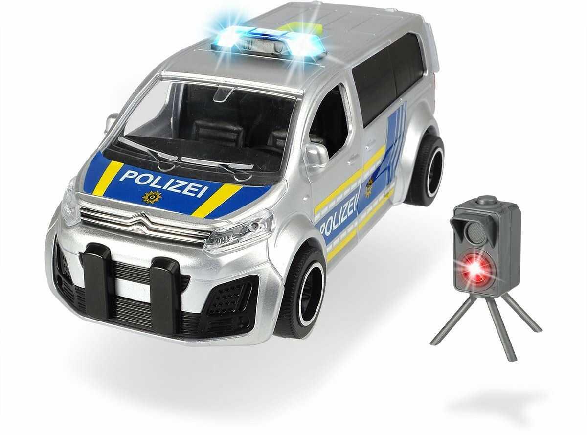 Dickie Toys 203713010 Citroen Space Tourer, samochód policyjny, radarowy, kontrola radaru, zabawka, autobus policyjny, 1:32, srebrny/niebieski
