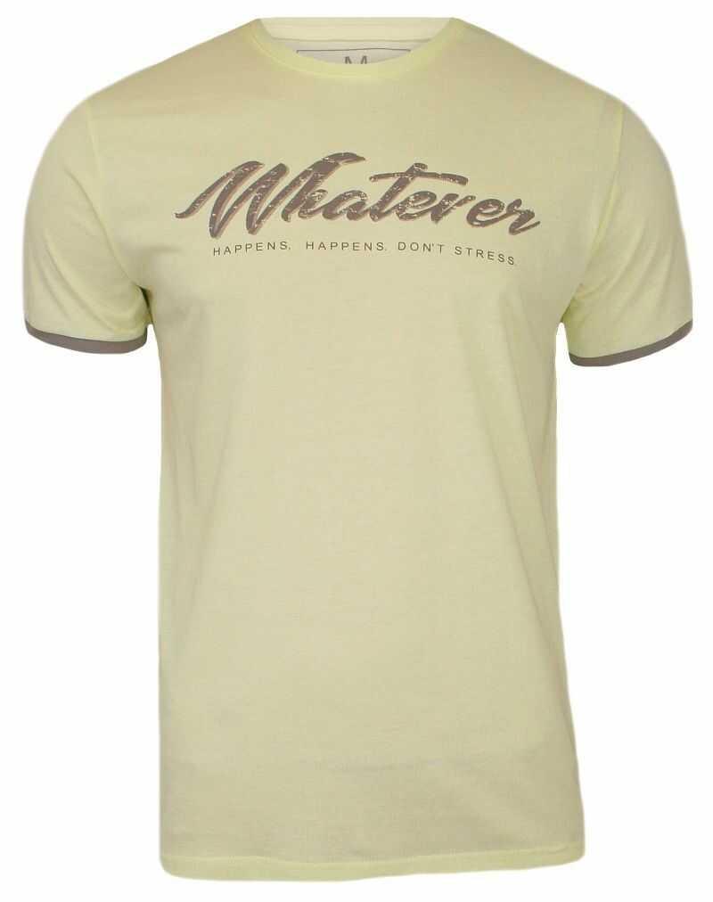 Żółty T-shirt Męski z Nadrukiem, Krótki Rękaw, Just Yuppi, Pozytywny Napis TSJTYUP8215kol9yellow