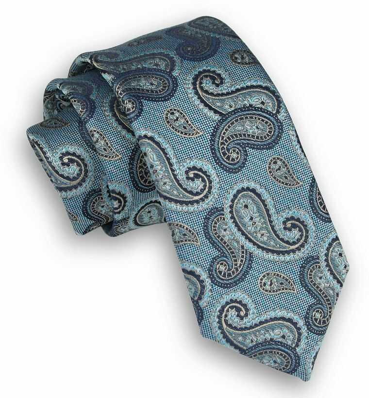 Miętowy Elegancki Krawat Męski -ALTIES- 6 cm, Niebiesko-Granatowy Wzór Paisley KRALTS0307