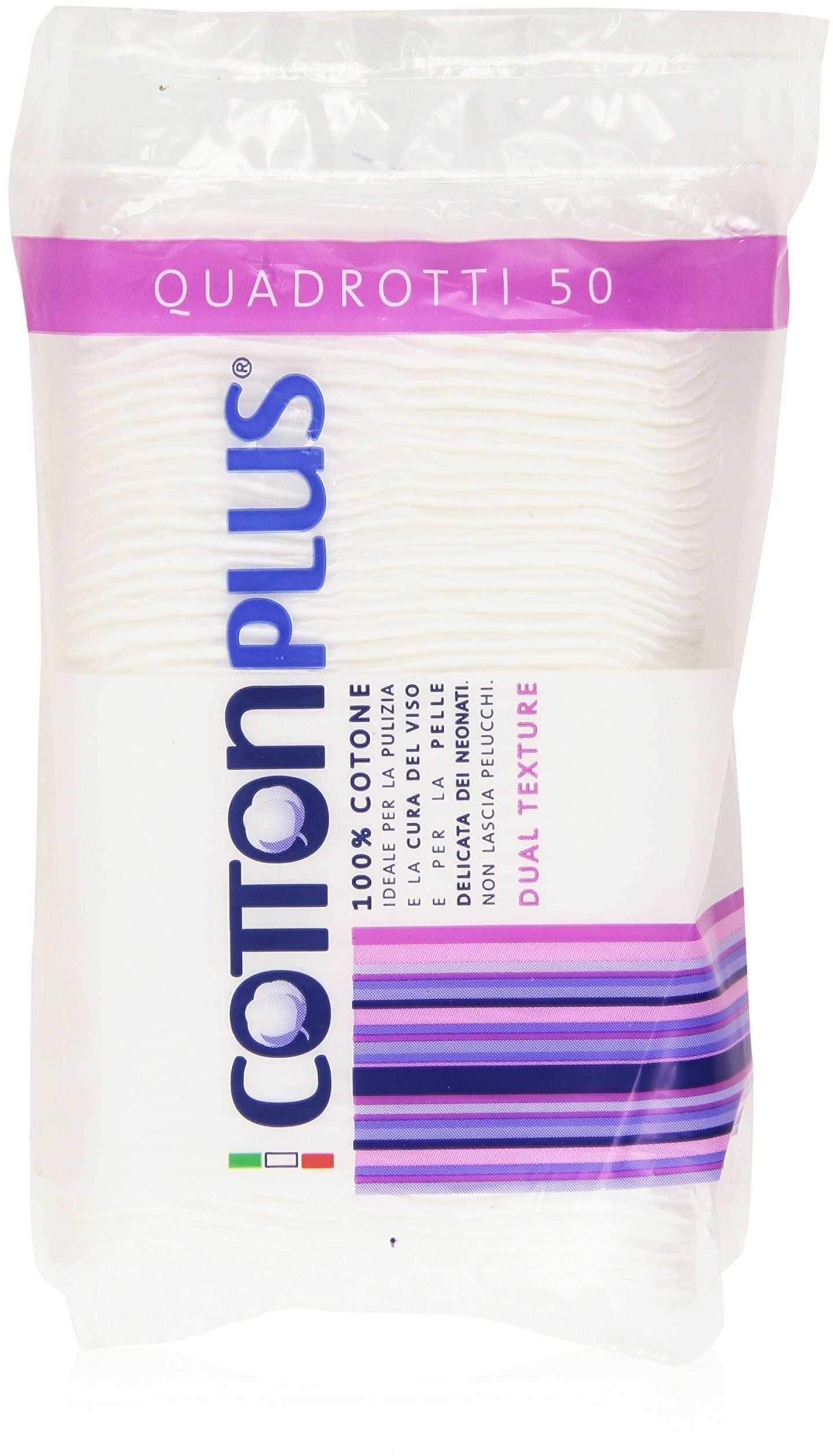 Cotton Plus Quadrotti waciki bawełniane, 100% hydrofilowa bawełna, podwójna tekstura, 50 padów