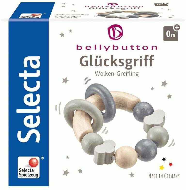 Selecta 64002 Glücksgriff, drewniana zabawka do chwytania, szara, 7,5 cm