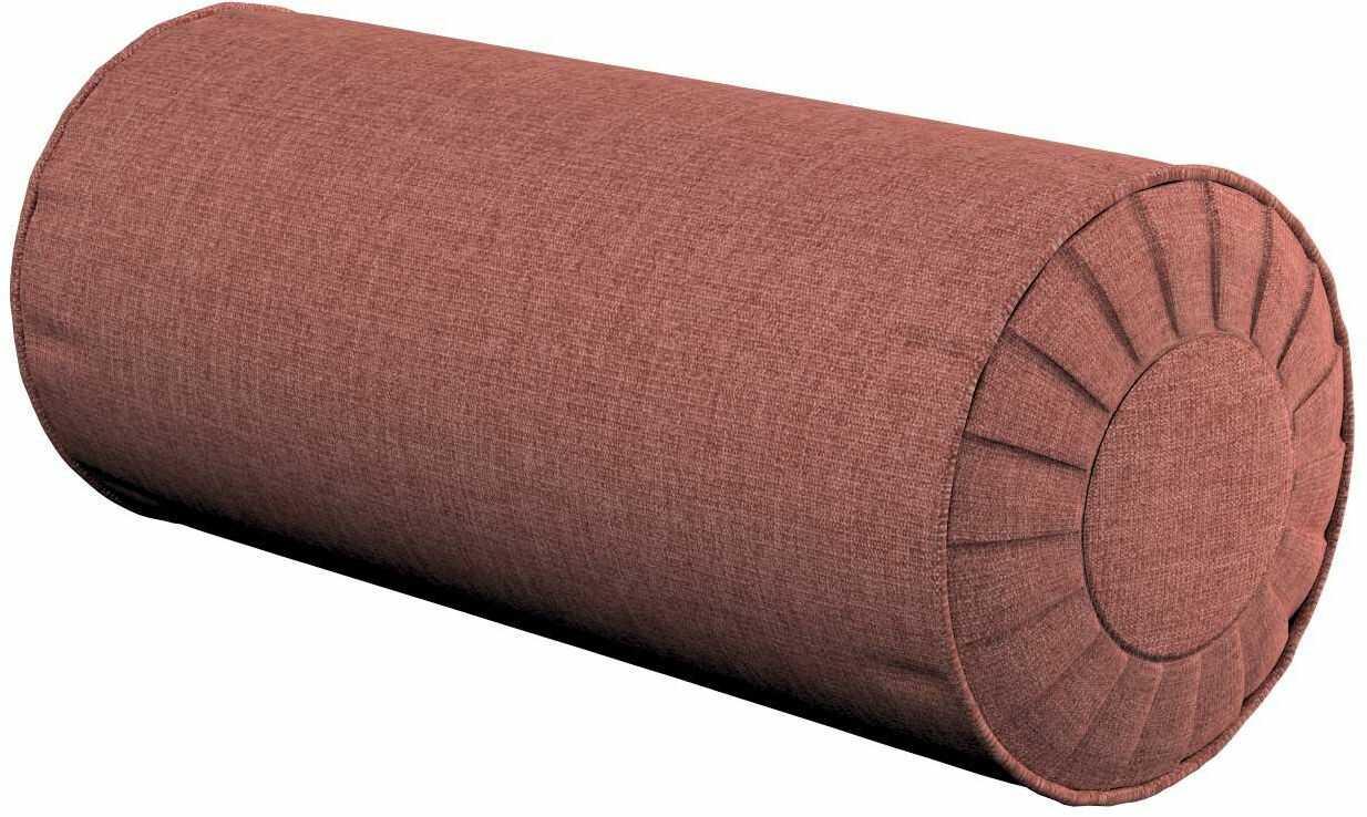 Poduszka wałek z zakładkami, brązowo-koniakowy, Ø20  50 cm, City