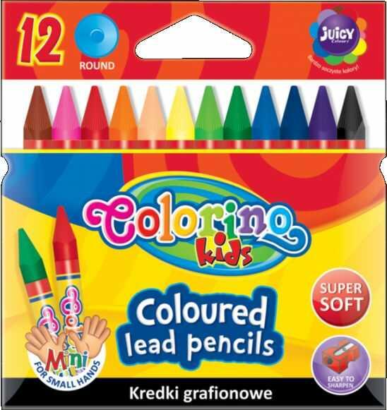 Kredki świecowe grafionowe 12 kolorów Colorino 857301
