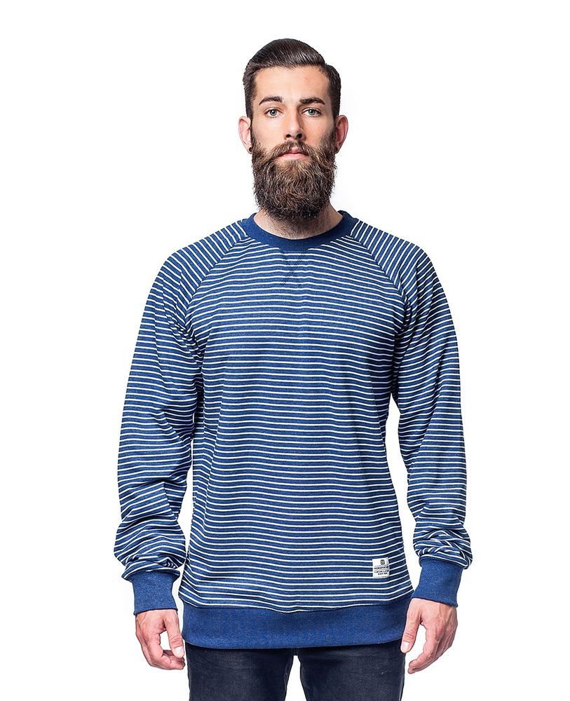 bluza męska HORSEFEATHERS SATIRE SWEATSHIRT (navy stripes)