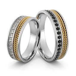 Obrączki srebrne z złotymi warkoczami i biało czarnymi cyrkoniami - wzór Ag-403