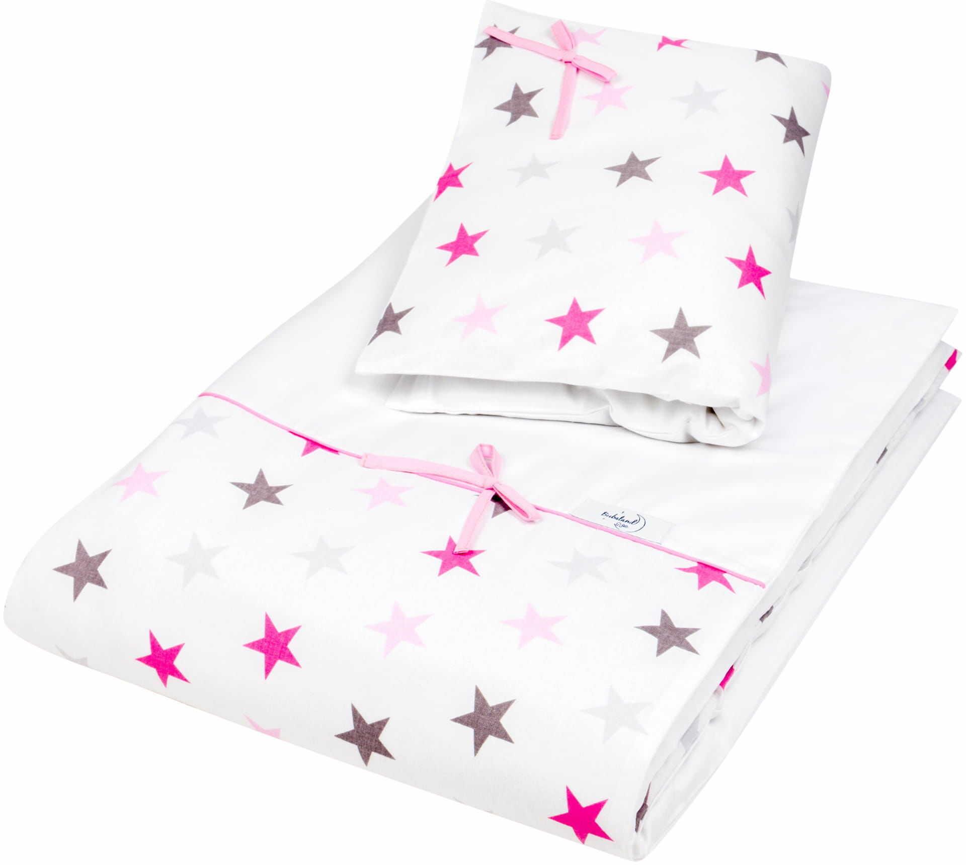 Pościel do łóżeczka, bawełna, satyna 2 el. białe gwiazdy