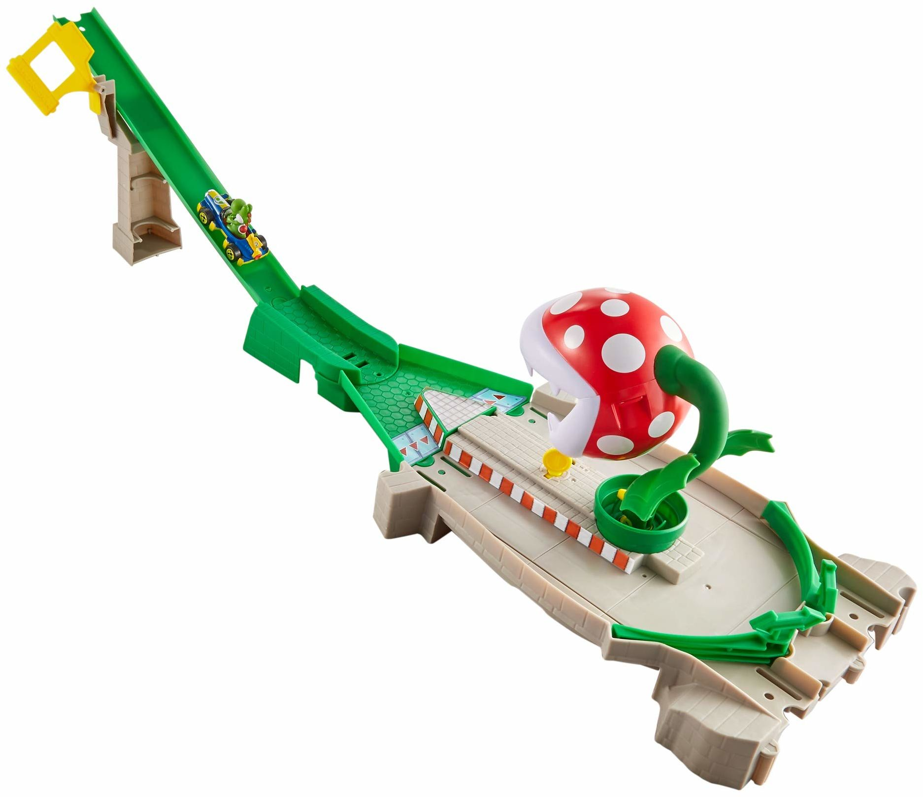 Hot Wheels GFY47  Mario Kart rośliny piratanu, zestaw ze zjeżdżalnią z 1 zabawkowym samochodem, zabawka od 5 lat, wielokolorowa
