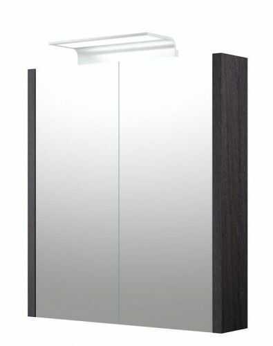 Szafka z lustrem, daszkiem i podświetleniem LED WAVE IP44, SERENA dąb czarny