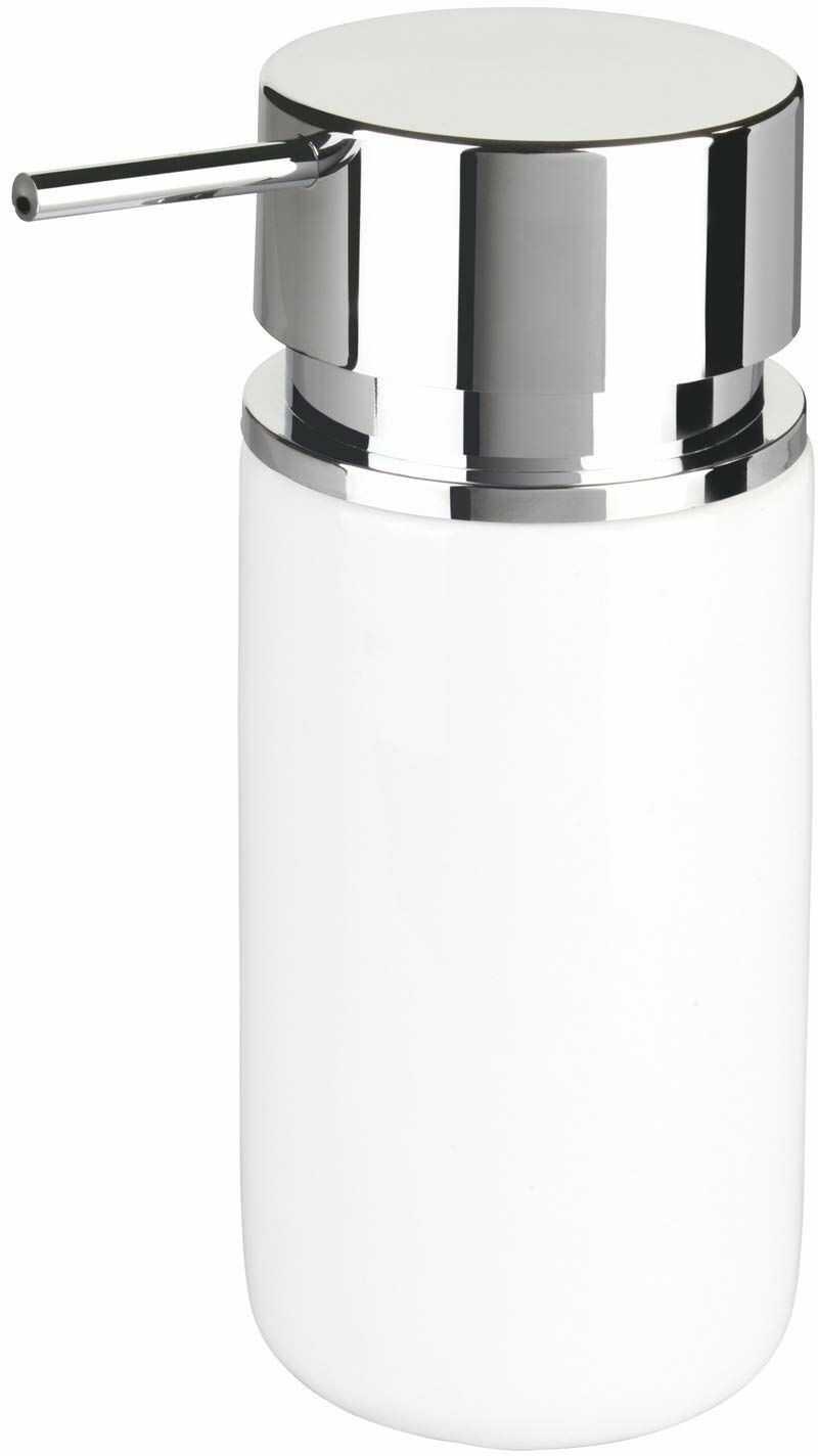 Wenko 54720100 Silo, dozownik mydła w płynie, dozownik płynu do mycia naczyń, pojemność: 0,25 l, ceramika, 6,2 x 16,5 x 6,2 cm, biały