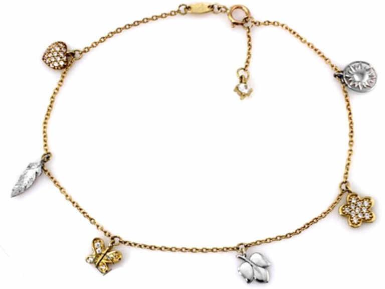 Złota bransoletka 333 z charmsami białe złoto