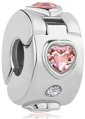 Rodowany srebrny charms pandora otwierany klips serce heart cyrkonie srebro 925 LOCKH45RH