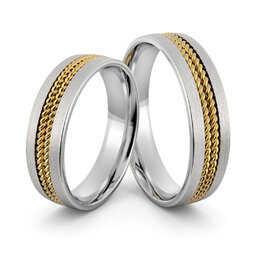 Obrączki srebrne z złotymi warkoczami - wzór Ag-404