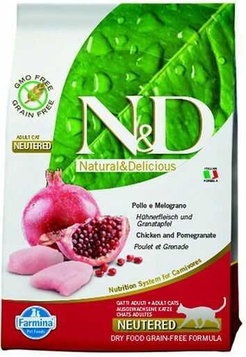 Farmina N&D Prime Chicken&Pomegranate Adult Neutered Cat - bezzbożowa karma z kurczakiem dla dorosłych, sterylizowanych kotów