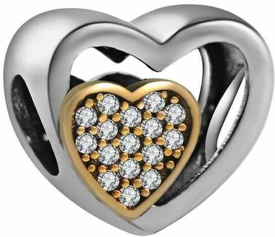 Rodowany srebrny charms do pandora serce w sercu cyrkonie srebro 925 QS0522RHW