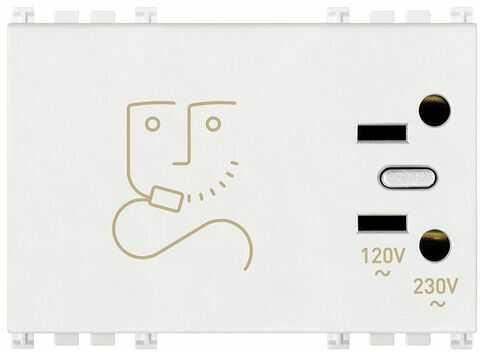 Gniazdo do golarek z transformatorem izolującym 20 VA, białe