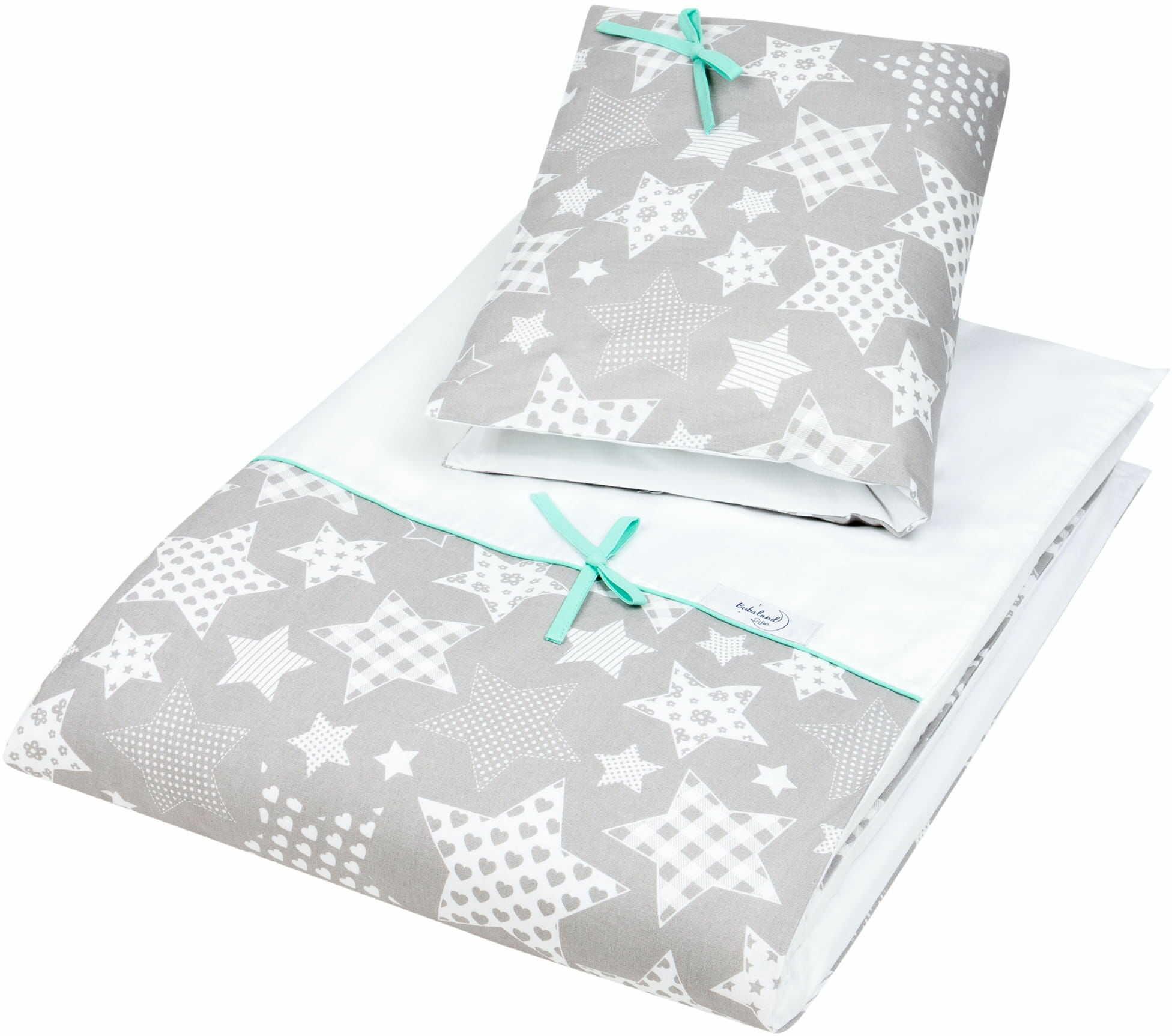 Pościel do łóżeczka, bawełna, satyna 2 el. duże gwiazdy