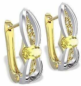 Kolczyki z żółtego i białego złota z cytrynami i diamentami lpk-39zb