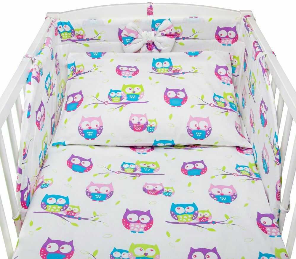 Bawełniana pościel do łóżeczka dziecięcego - SOWY BIEL