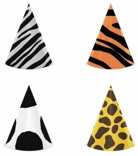 Czapeczki urodzinowe Zwierzątka Safari Wild Animals 4 sztuki 512563