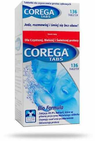 Corega Tabs Bio Formula tabletki do czyszczenia protez zębowych - 136sztuk