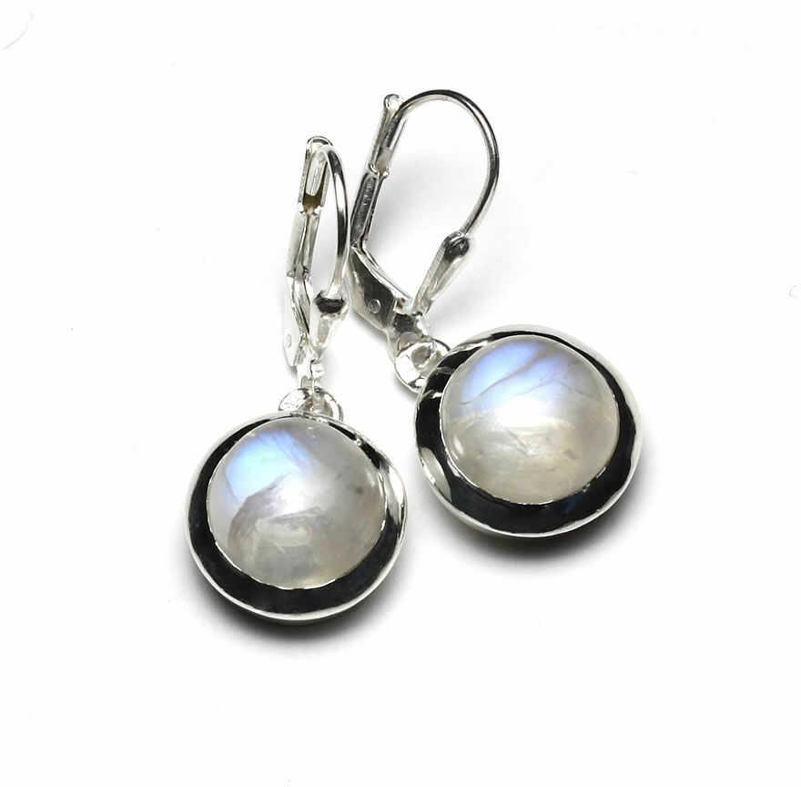 Kuźnia Srebra - Kolczyki srebrne, 30mm, Kamień Księżycowy, 6g, model