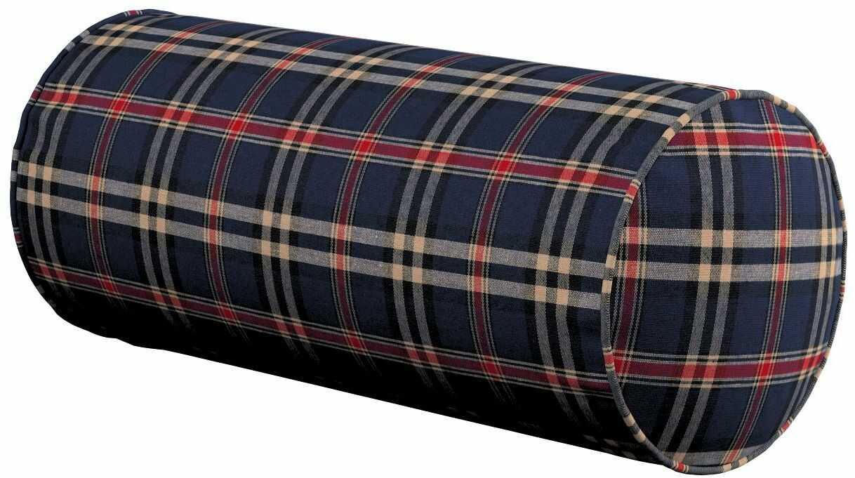 Poduszka wałek prosty, granatowo - czerwona kratka, Ø16  40 cm, Bristol
