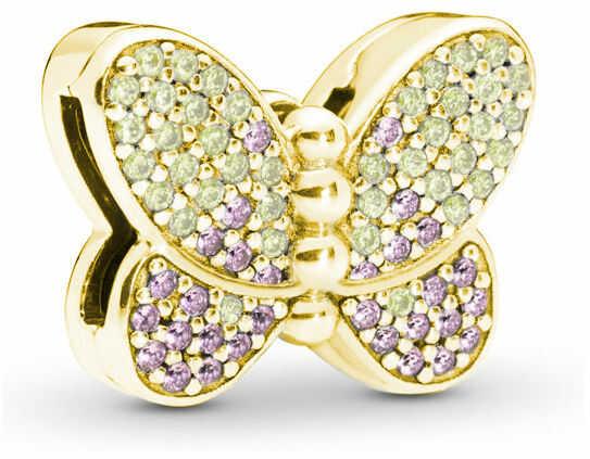 Pozłacany srebrny charms do pandora koralik reflexions motyl butterfly cyrkonie srebro 925 BEAD194Y