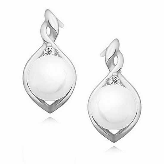 Delikatne rodowane srebrne kolczyki perły perełki cyrkonie srebro 925 Z1094ES
