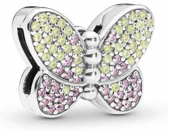 Rodowany srebrny charms do pandora koralik reflexions motyl butterfly cyrkonie srebro 925 BEAD194RH