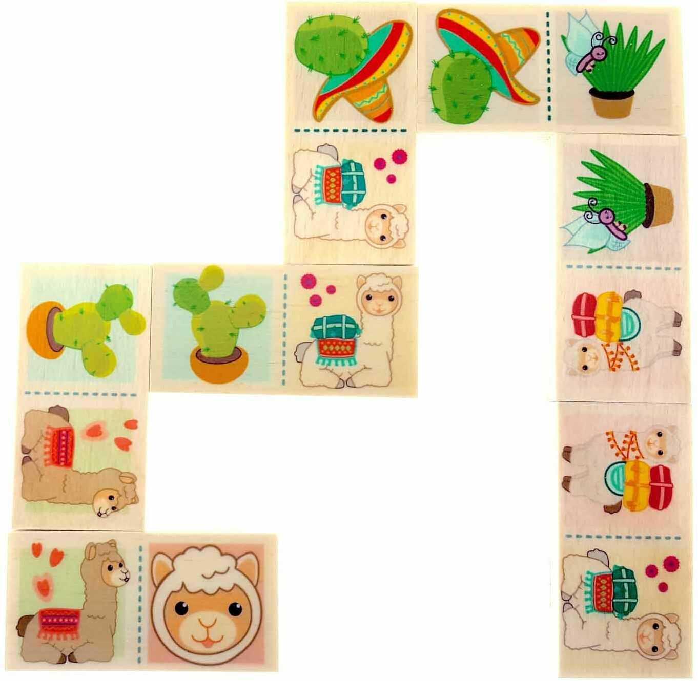 Hess drewniana zabawka 14964 Domino dla dzieci od 3 lat, lama, 28 części, prezent na urodziny, Boże Narodzenie lub Wielkanoc