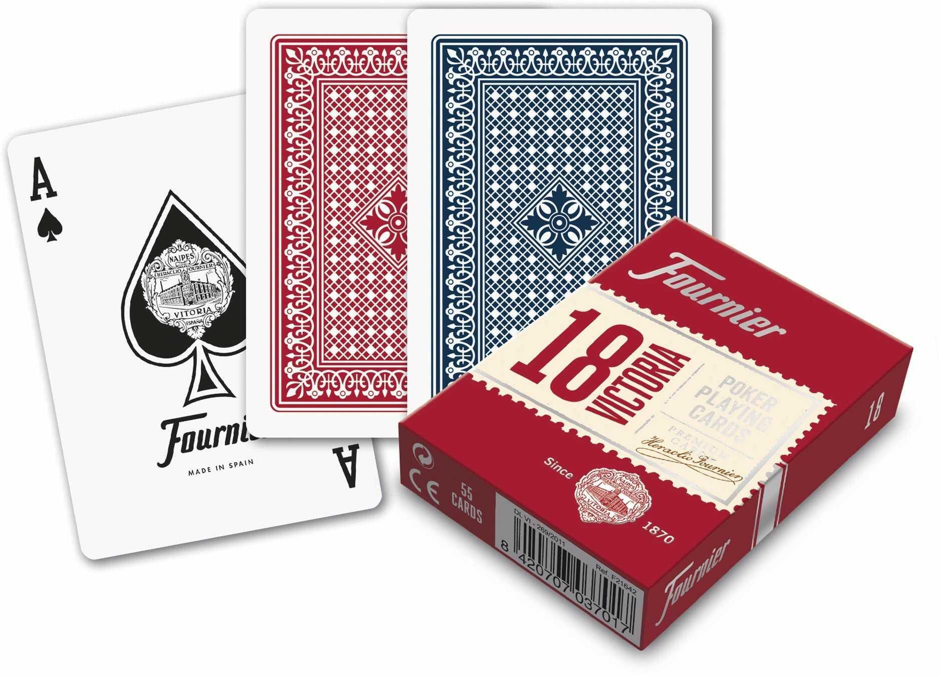 FOURNIER F21642 N  18 klasyczna talia kart do gry w pokera, czerwona lub niebieska