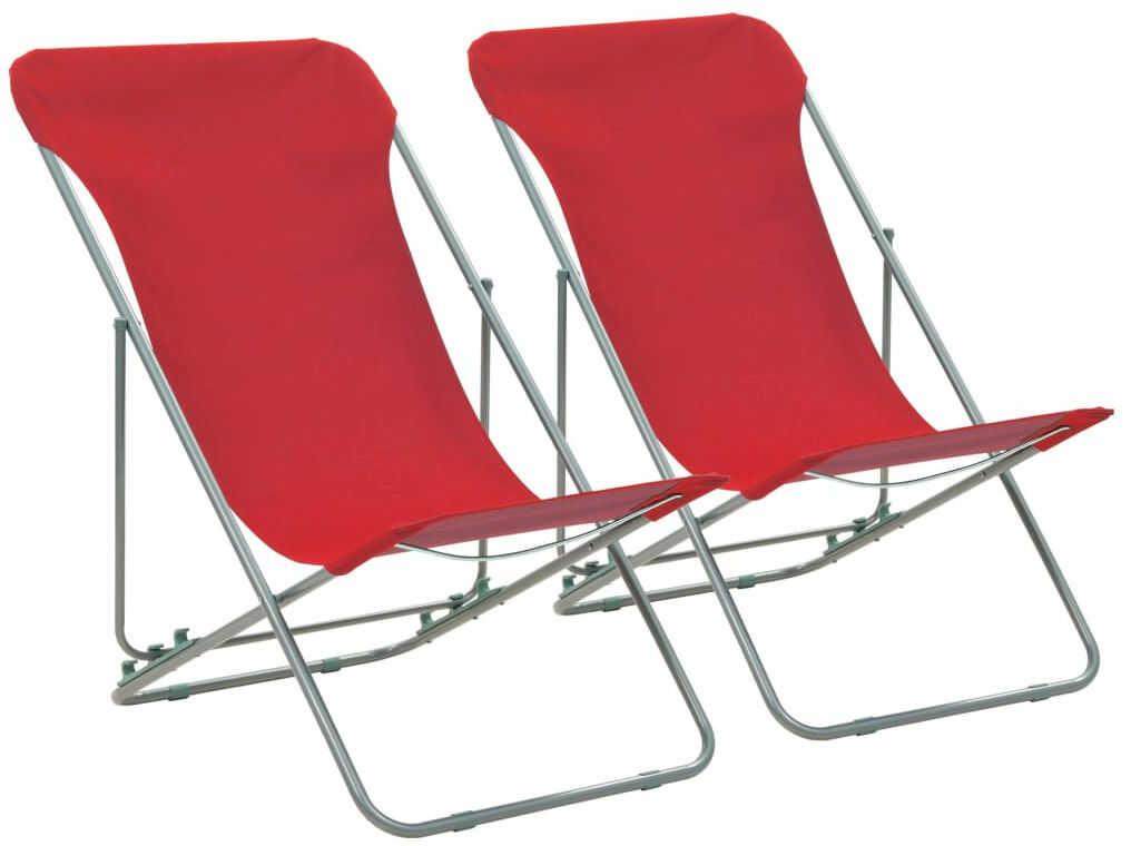 Komplet czerwonych krzeseł plażowych - Loretto
