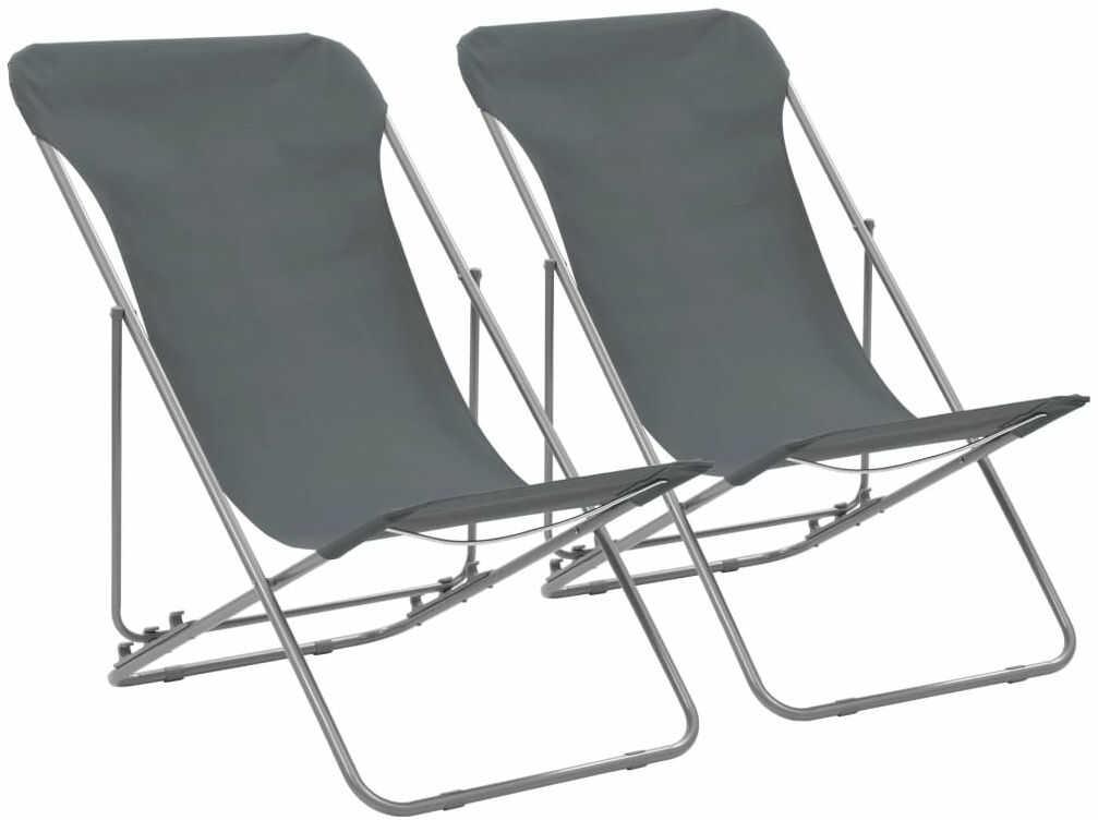 Komplet szarych krzeseł plażowych - Loretto