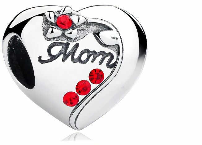 Rodowany srebrny charms do pandora serce heart mama mother mum cyrkonie srebro 925 BEAD097