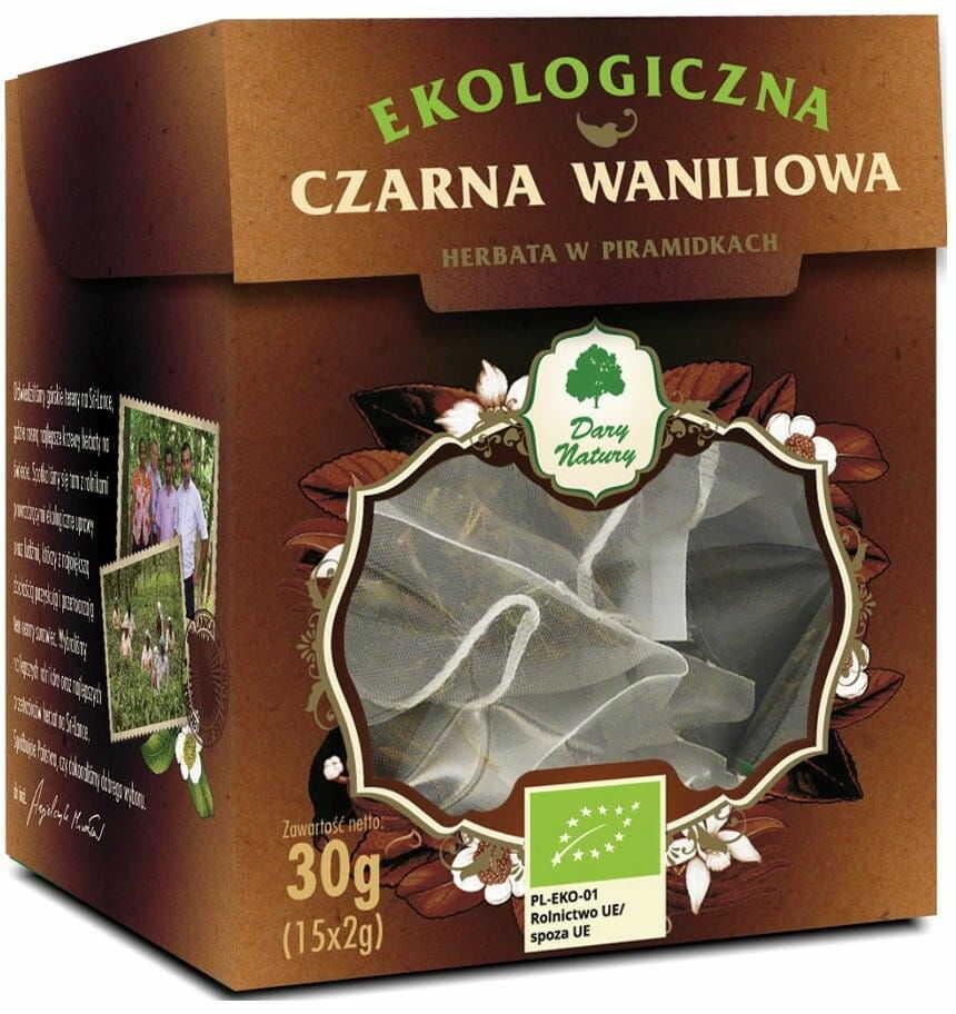Herbata Czarna Waniliowa w Piramidkach BIO 30g - Dary Natury