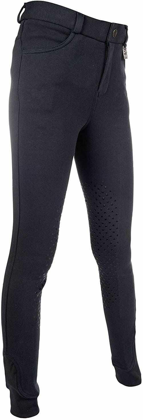 HKM Unisex spodnie jeździeckie -Kids Slimline Easy - silikonowe obszycie kolan 1200 beżowy 1200 Weiß 158
