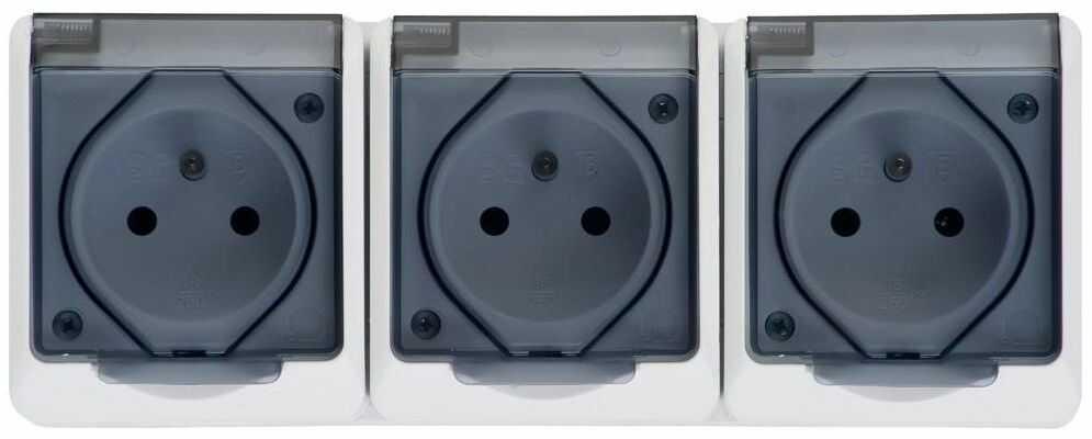 Gniazdo potrójne IP44 HERMES Biały ELEKTRO-PLAST