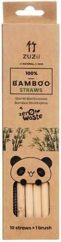 Słomki bambusowe BEZ KORY 10 szt + czyścik Zuzii