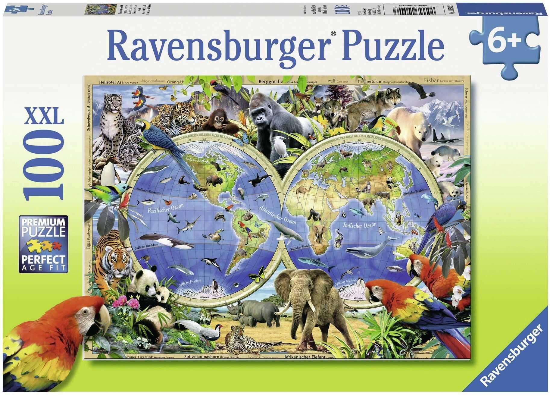 """Ravensburger 10540 3 Puzzle""""Zwierzęta świata"""" (100 sztuk)"""