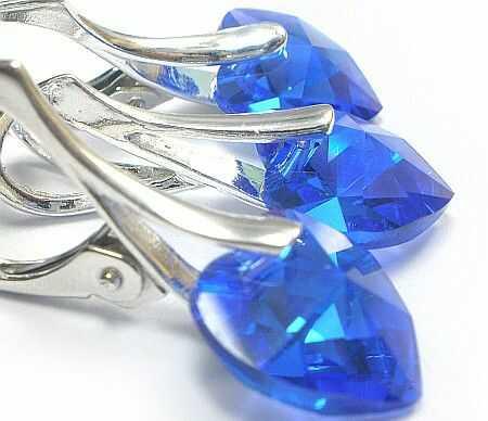 SWAROVSKI piękny komplet SREBRO Sapphire
