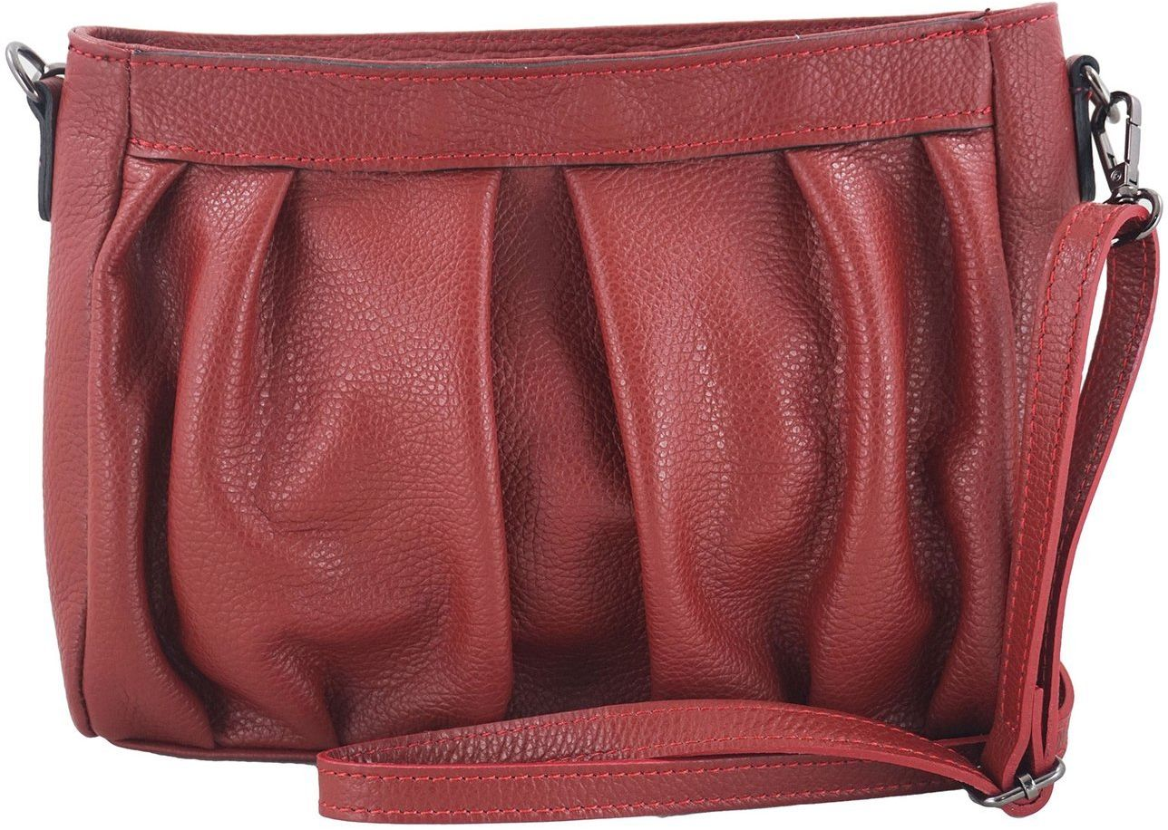 Modna marszczona torebka damska - Czerwona