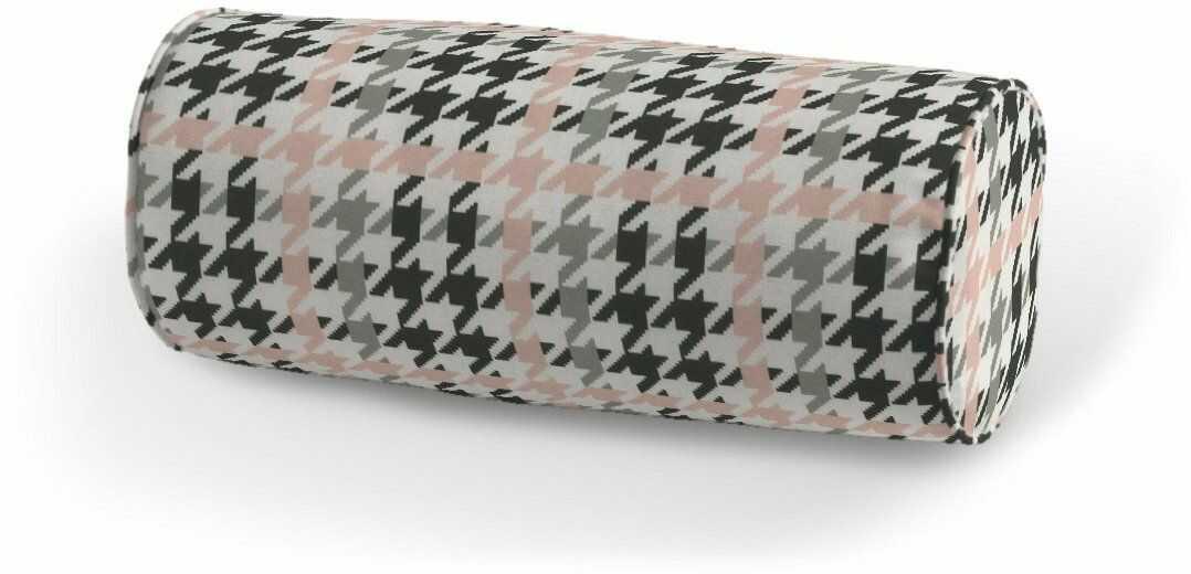 Poduszka wałek prosty, różowo-czarna pepitka, Ø16  40 cm, do -50%