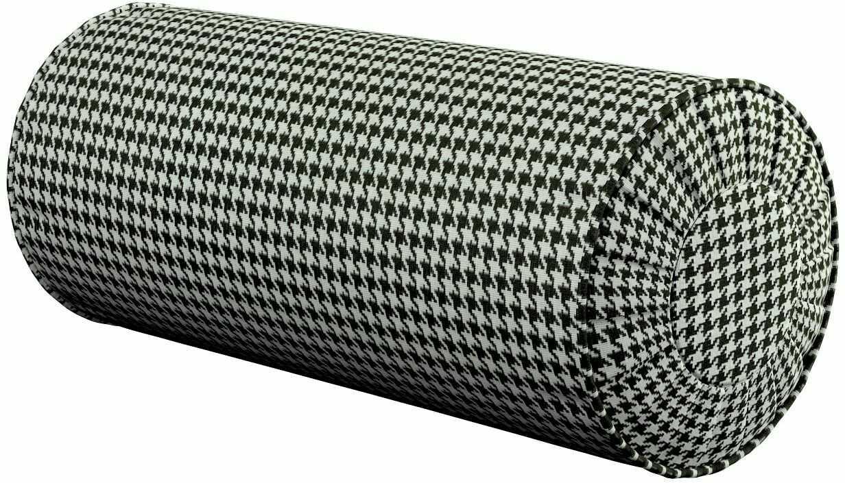 Poduszka wałek z zakładkami, czarno-biała pepitka, Ø20  50 cm, Black & White