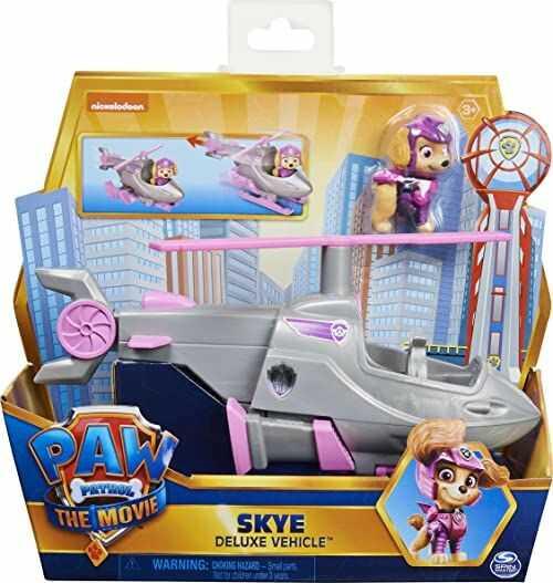 PAW PATROL Skye''s Deluxe film transformujący zabawka samochód z kolekcjonerską figurką akcji, zabawki dla dzieci dla dzieci od 3 lat