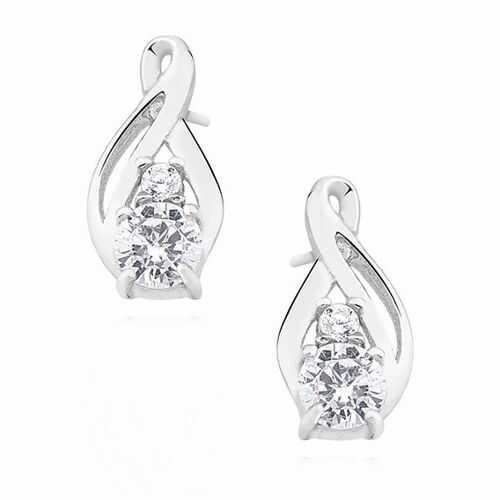 Eleganckie rodowane podłużne srebrne kolczyki białe cyrkonie srebro 925 Z1422E_W