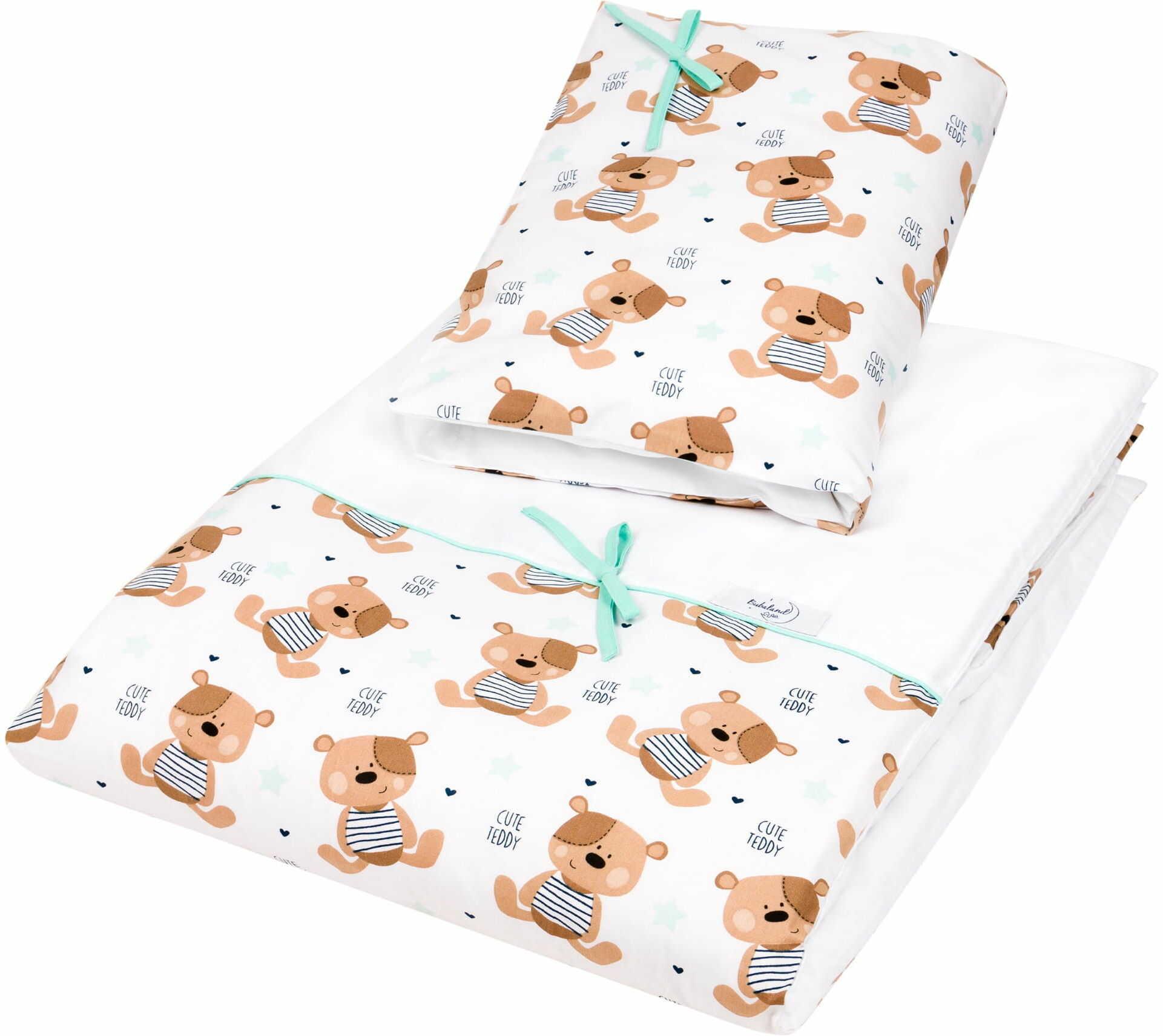 Pościel do łóżeczka, bawełna, satyna 2 el. miś teddy