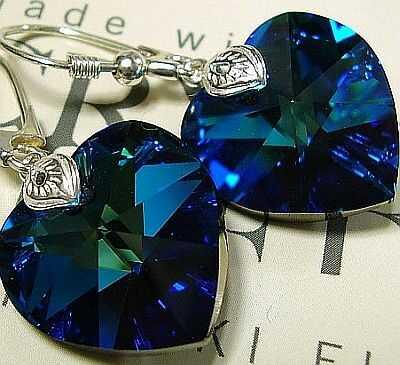 SWAROVSKI ładne kolczyki SREBRO serce Blue