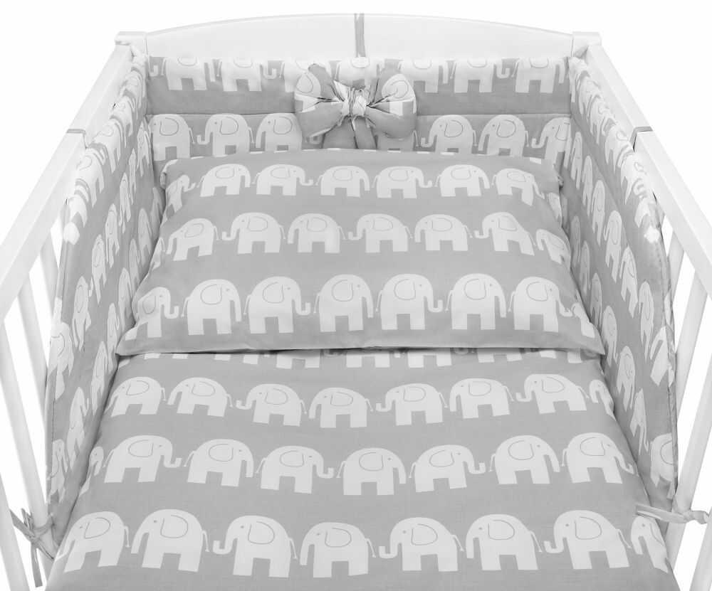 Pościel do łóżeczka dziecięcego w słonie na szarym tle - Bawełna 100%